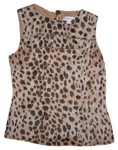 Merona Sleeveless Animal Print Zipper Top Leopard