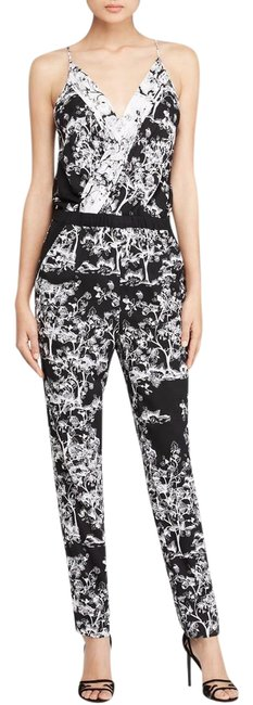 Item - Black White Dvf Shany 2 Floral Silk Toile Meadow Romper/Jumpsuit