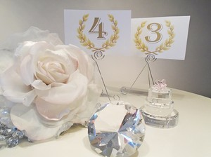 White And Gold Wreath Table Numbers