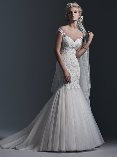 Item - Ivory Over Light Gold (Pictured) Lace Cassandra Sexy Wedding Dress Size 10 (M)