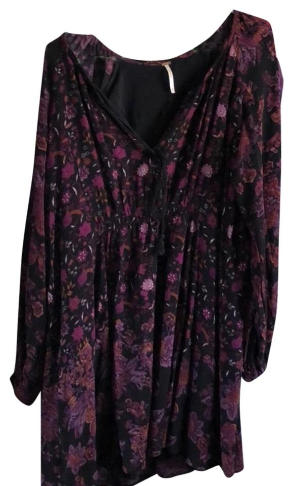 a2768ad69f73 Free People Burgundy Combo Floral Lucky Loosey Short Casual Dress ...