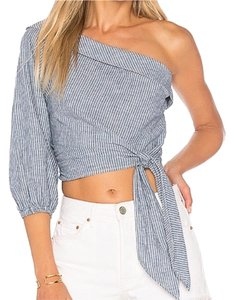 Free People Top Blue/White