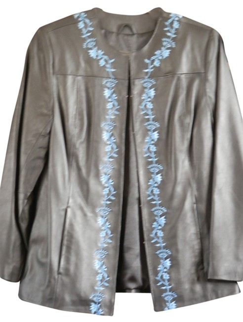 Terry Lewis Classic Luxuries Black Lambskin Leather w/ Blue Appliques Blazer