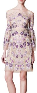 Marchesa Embroidered Illusion Embellished Bell Sleeves Dress