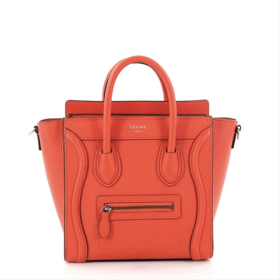 Céline Luggage Leather Tote In Red Orange
