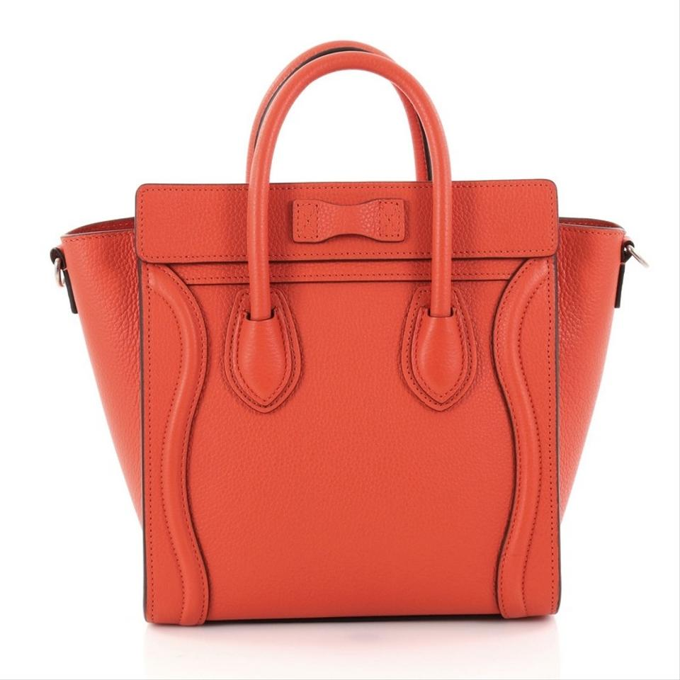 Céline Luggage Leather Tote In Red Orange 1234567891011