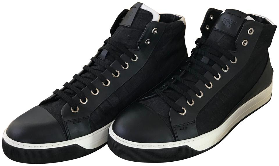 c048c57060 Fendi Black Leather Crocodile Print High Top Men's Sneakers Size US 9  Regular (M, B) 50% off retail