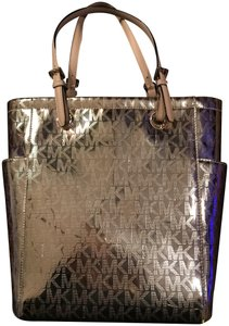 Michael Kors Logo Tote in Gold/Tan Leather