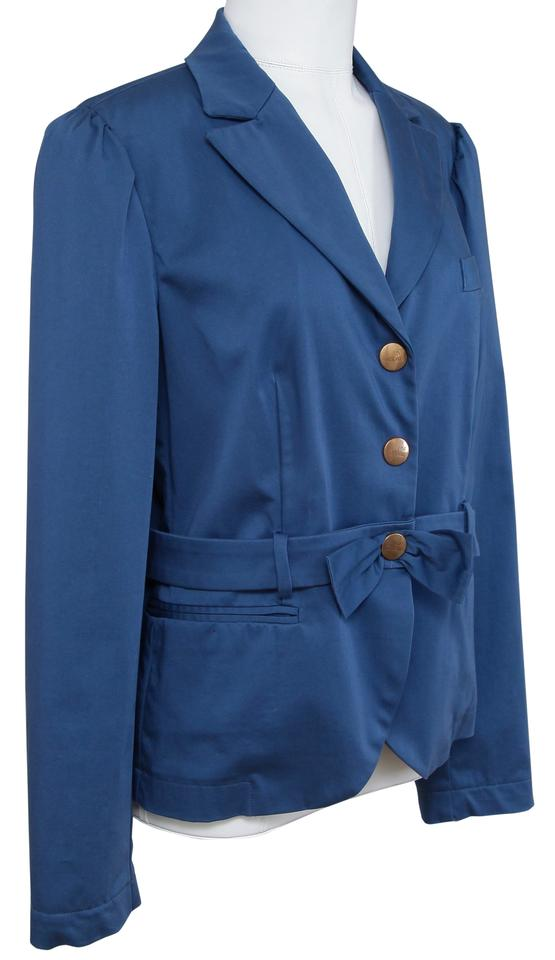d277d2a4c8f Love Moschino Blue Jacket Coat Cotton Belted F 44 Blazer Size 12 (L ...