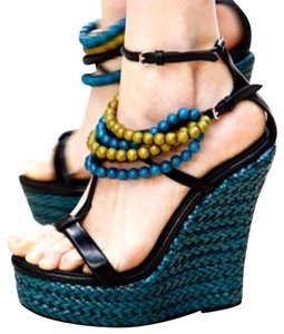 Burberry Prorsum Black leather with Turquoise wedge Wedges