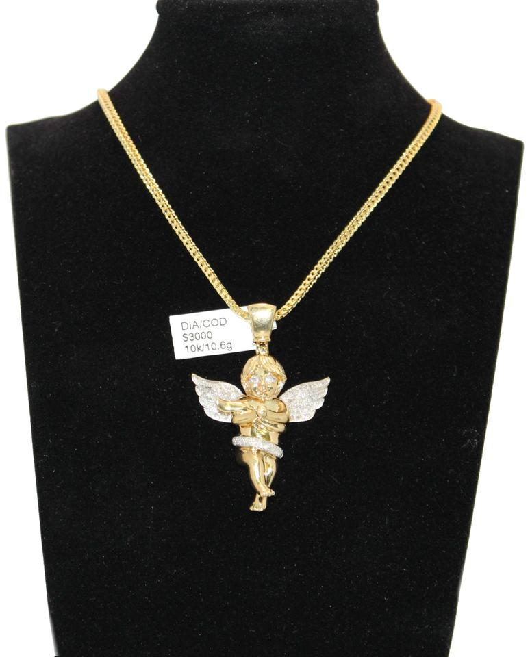 Diamond 10k yellow gold franco chain with angel pendant necklace other 10k yellow gold franco chain with diamond angel pendant necklace aloadofball Gallery