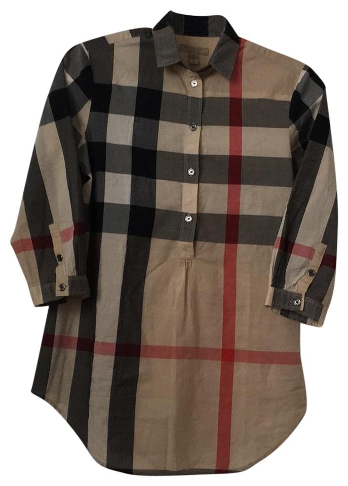 e9a1c53d Burberry Tan Black White Red Nova Check Button Down Shirt Tunic Size ...
