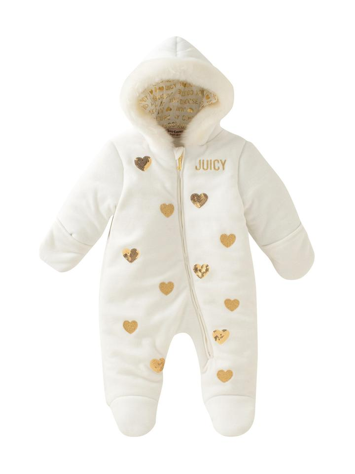 8745554aa Juicy Couture White  Baby Faux Fur Trimmed Heart One Piece 3-6 ...
