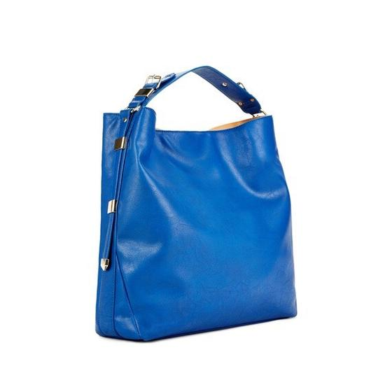 JUST FAB/VIP LINE Tote in Cobalt Blue w light gold hardware/cloth lined