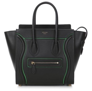 Céline Micro Micro Luggage Tote in Black with Green Accent
