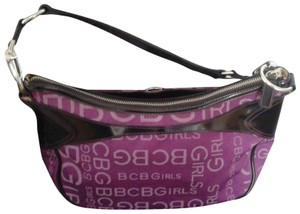 BCBGeneration Satchel in BCBGirls prints in Burgandy material with black trimmings