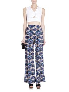 Yigal Azrouël New York Designer Palazzo Floral Wide Leg Pants Blue