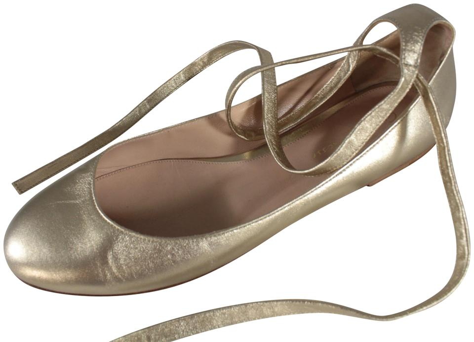 6285000bbe5b Gianvito Rossi Gold Carla Wrap Around Ankle Strap Ballet Flats Size ...