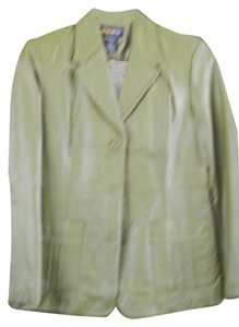 Metro Style Olive Green Leather Blazer