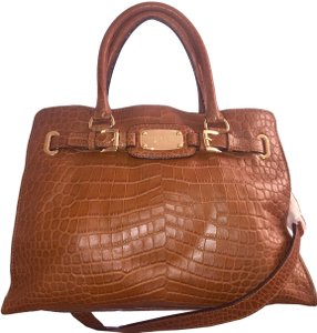 Michael Kors Laptop Convertible East West Alligator Crocodile Tote in Walnut Luggage Brown Croc