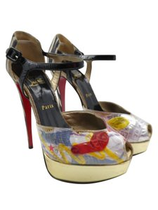 Christian Louboutin Trash Patent Leather No 299 Red Bottoms White Platforms