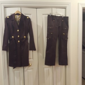 Cache-Cache Gorgeous dark chocolate trench coat with matching pants