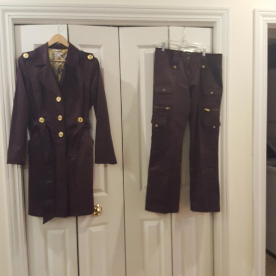 cache cache dark chocolate trench coat with matching pant suit size 12 l tradesy. Black Bedroom Furniture Sets. Home Design Ideas
