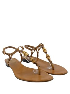 Gucci Bamboo T-strap Flat Leather tan Sandals