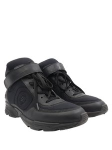Chanel Neoprene Strap High Top Sneakers Leather black Athletic