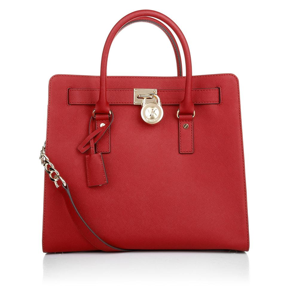 ae6030d6b7d8 Michael Kors Hamilton Ns North South Large Convertible Red Saffiano Leather  Tote