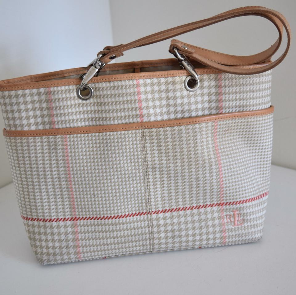 80257a9d39 Ralph Lauren Bag Houndstooth Cream and Tan Canvas Leather Tote - Tradesy