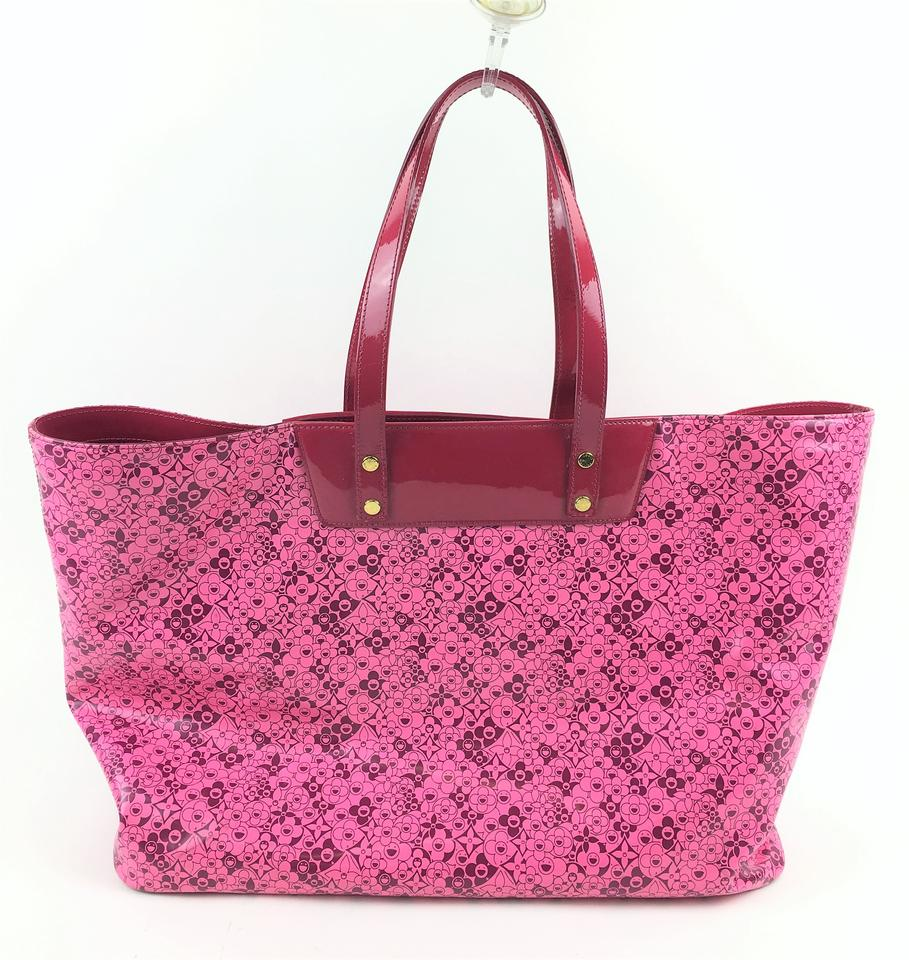4eec9753d54d8 Louis Vuitton Patent Leather Cosmic Bloom Takashi Murakami Tote in Shiny  Pink Image 7. 12345678