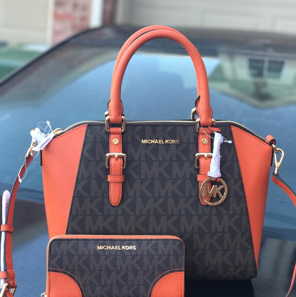 Michael Kors Large Ciara With Matching Wallet Set Brown And Tangerine Pvc Saffiano Leather Satchel 46 Off Retail