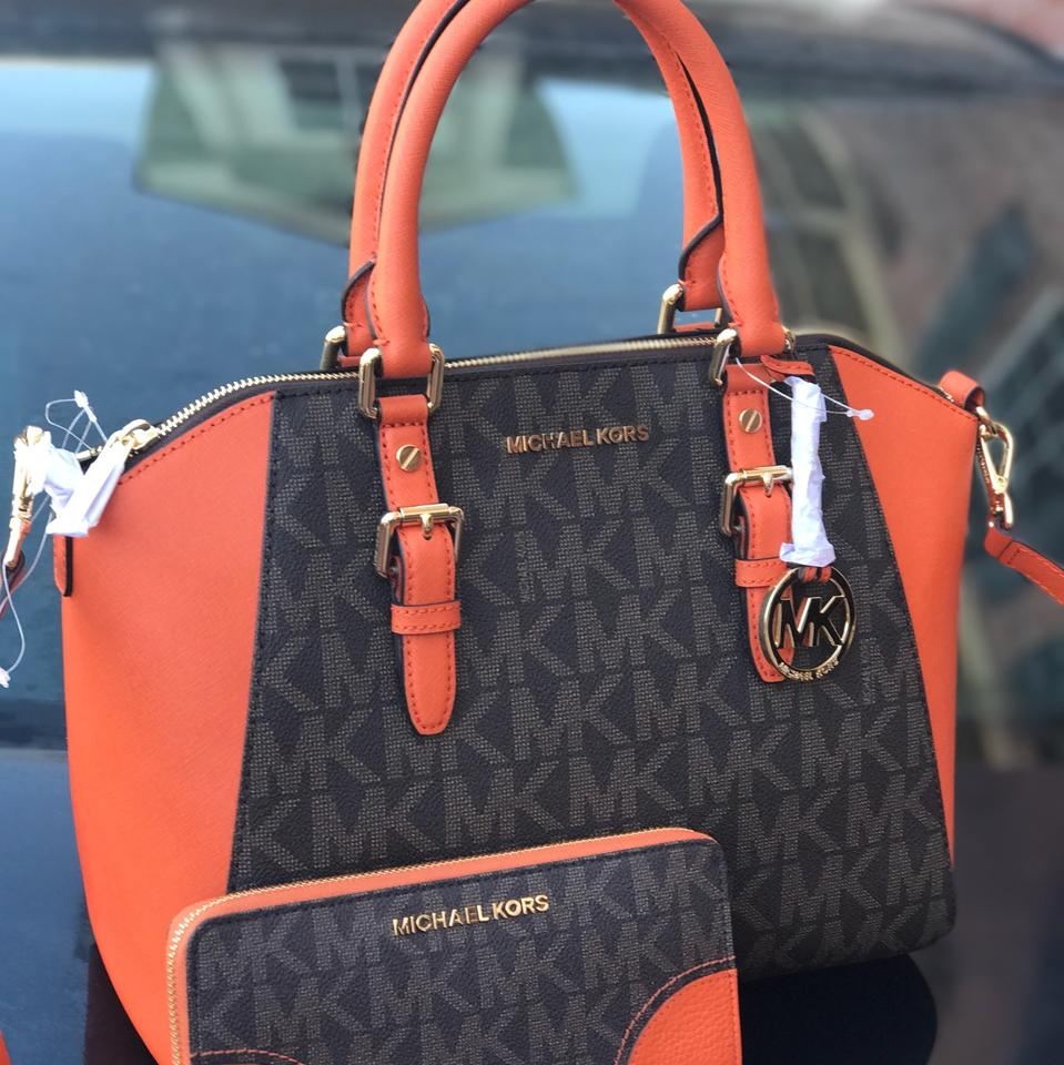 28fae11c4093 Michael Kors Large Ciara with Matching Wallet Set Brown and Tangerine Pvc  Saffiano Leather Satchel - Tradesy