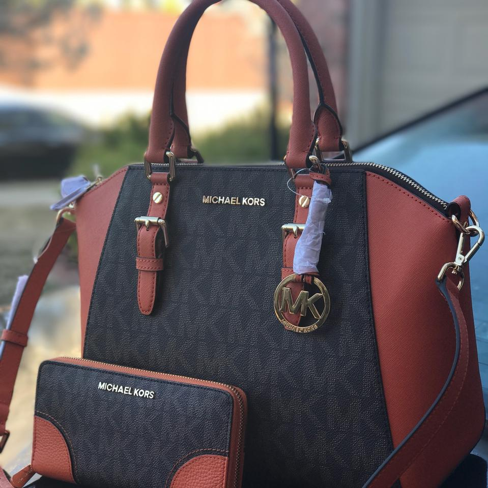 537080a1ba10 Michael Kors Large Ciara with Matching Wallet Set Brown and Tangerine Pvc  Saffiano Leather Satchel - Tradesy