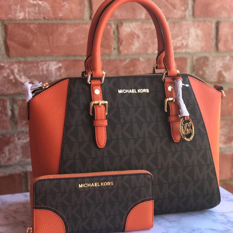 a5a038b72ad8 Michael Kors Satchel in Brown and tangerine Image 14. 123456789101112131415