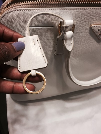 Prada Saffiano Leather Satchel in White