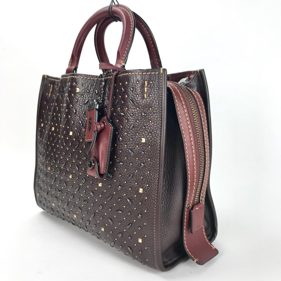 Coach 1941 Rogue Prairie Rivets Tote Oxblood Leather