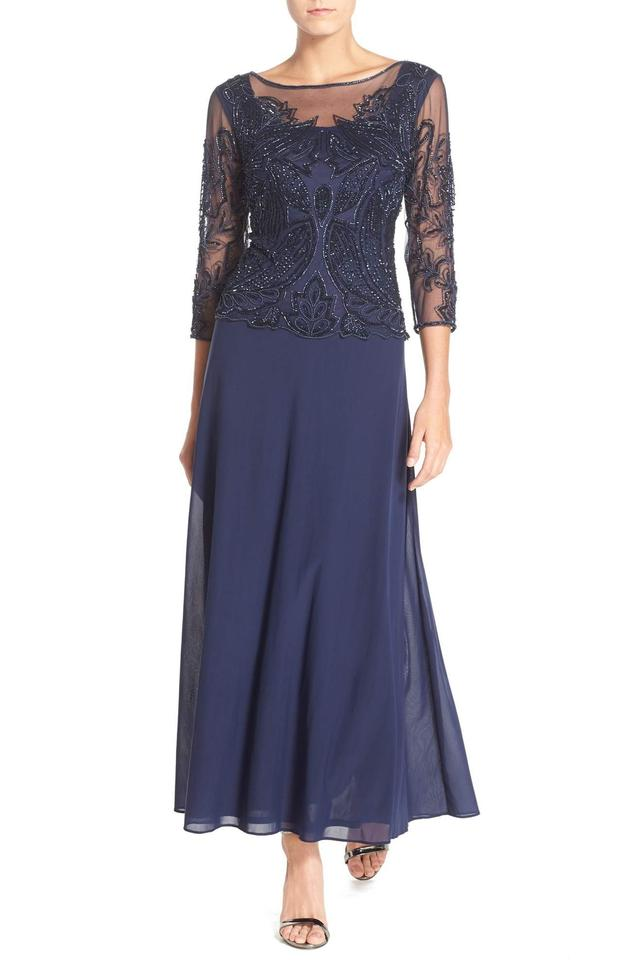 Pisarro Nights Navy Beaded Long Formal Dress Size 16 (XL, Plus 0x ...