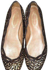 Elie Tahari Pony Hair Brown Leather leopard Flats