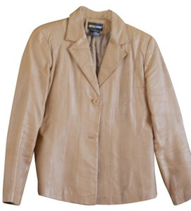 Metro Style Camel Leather Blazer