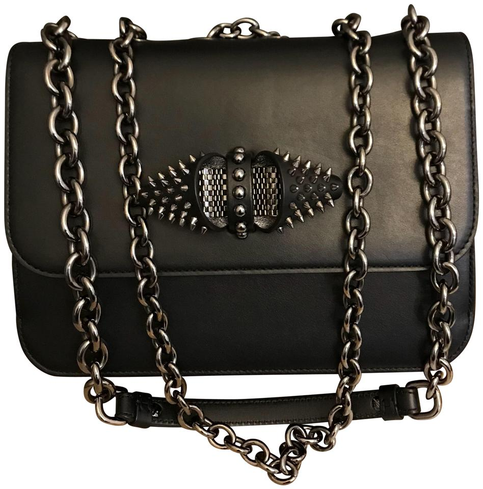 de31b9d1e89 Christian Louboutin  medium Sweet Charity  Spiked Black Calfskin Leather  Shoulder Bag
