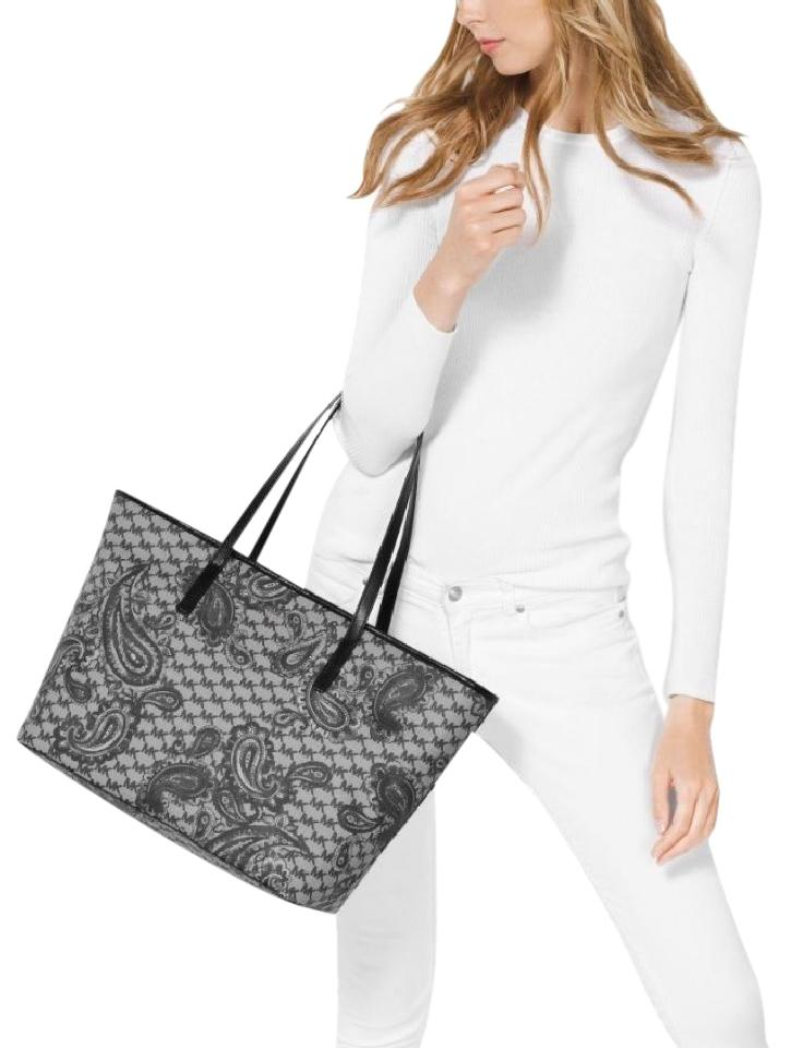 d7ca90e8ef41 Michael Kors Emry Heritage Studio Paisley Large Top Zip Black Coated Canvas  Tote