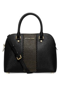 Michael Kors Stud Studded Gold Crossbody Cross Body Satchel in Black