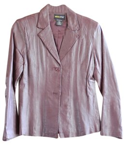 Metro Style Maroon Leather Blazer