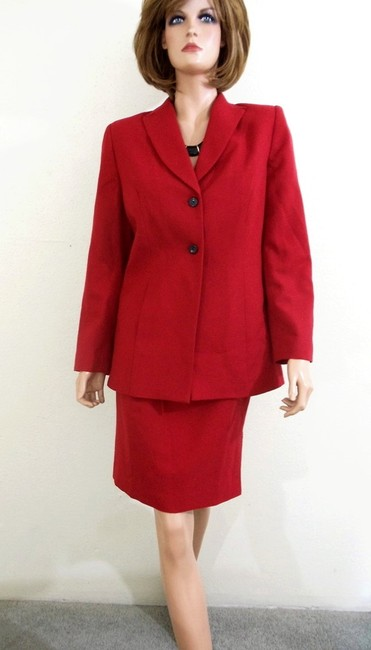 Lord & Taylor Style #7793004 Two-Piece Red Wool Skirt Set