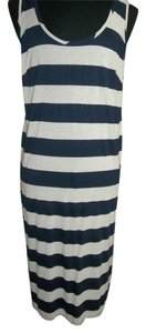 Navy/Cream Maxi Dress by Ultra Flirt Striped Navy