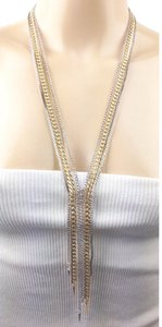 BCBGeneration silver tone y tiered chain spike fringe