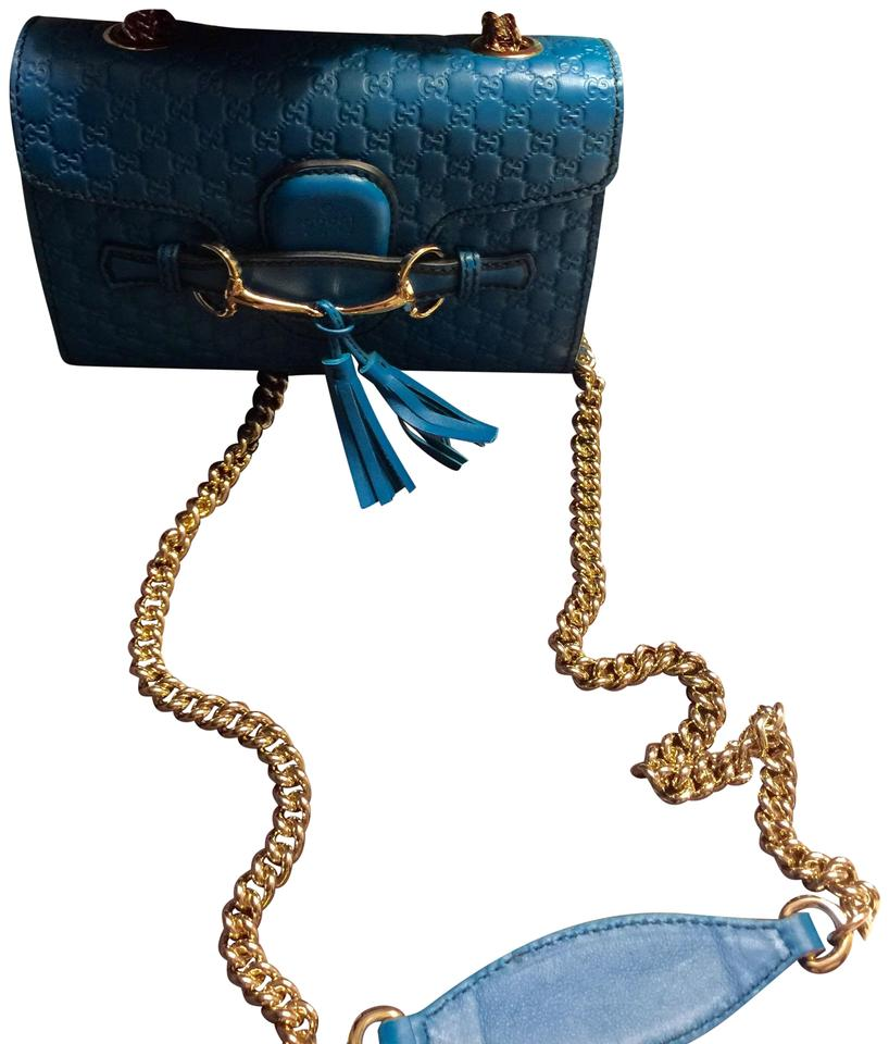 769421921df33d Gucci Shoulder Emily Guccisimo Teal Leather Cross Body Bag - Tradesy