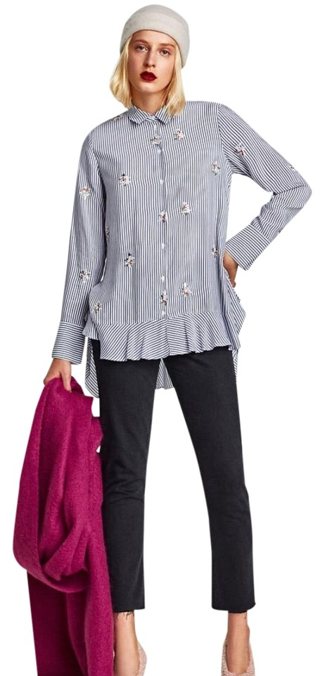 31eb5a77 Zara Blue Flowing Striped Embroidered Blouse Size 12 (L) - Tradesy